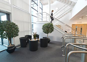 Business Person Walking Down Staircase in HP Enterprise Nottingham Office